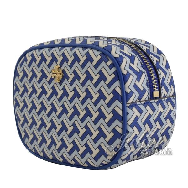 茱麗葉精品【全新現貨】TORY BURCH 64205 T ZAG 雙T LOGO拉鍊化妝包/萬用包.藍