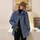 牛仔外套女 女春百搭長袖上衣2021新款藍色復古港味設計感疊穿襯衫【快速出貨八折鉅惠】