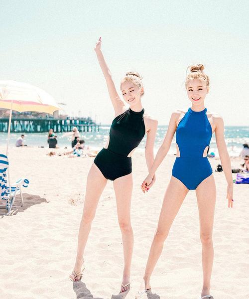 連身泳裝 性感挖背露腰修身顯瘦連體泳衣 艾爾莎【TAJ5079】
