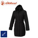 【Wildland 荒野 女 長版防水防風時尚外套《黑》】0A72909/風雨衣/防水外套/大衣