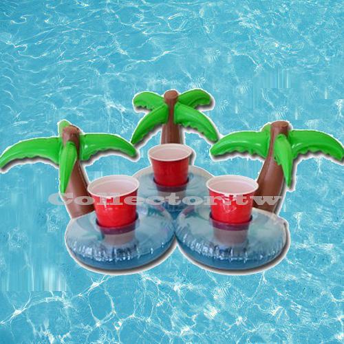 充氣式棕欖樹飲料套 游泳池可樂套 棕欖樹充氣杯座 夏日必備