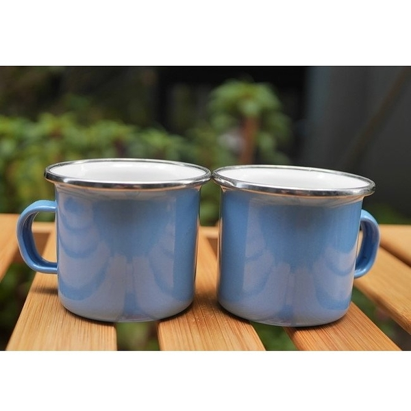 Wind & Whisper 南洋風琺瑯 咖啡雙杯組(藍天)