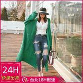 梨卡★現貨 - 韓國秋冬寬鬆前口袋針織超長版加厚針織毛衣外套B681