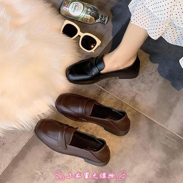 小皮鞋 網紅單鞋女春季新款英倫風百搭復古女學生方頭樂福女鞋 - 小衣里大購物