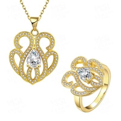 玫瑰金銀飾套裝含項鍊+耳環+戒指-閃耀水鑽生日情人節禮物女飾品2色73bv6[時尚巴黎]