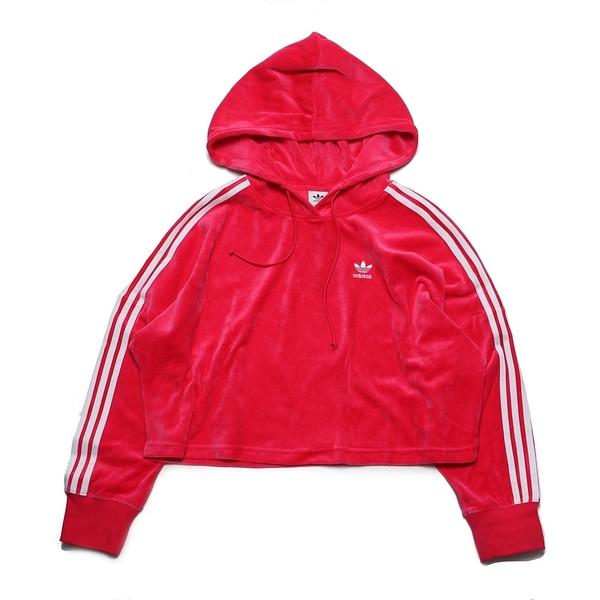 ADIDAS 帽T CROPPED HOODIE 桃紅 三線 絨布 短版 連帽 上衣 女 (布魯克林) G17622