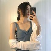 復古胸前交叉針織吊帶背心女(6色)打結上衣百搭純色V領上衣【CF1033】