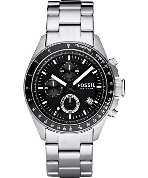 FOSSIL 都會摩登三眼計時腕錶/手錶-黑/銀/44mm CH2600IE