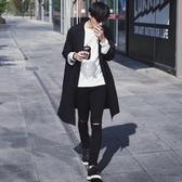 風衣外套-純色百搭時尚簡約中長版翻領男大衣73ip5[時尚巴黎]