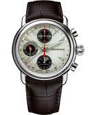 AEROWATCH 專業月相顯示機械計時腕錶-銀x咖啡 A64908AA03