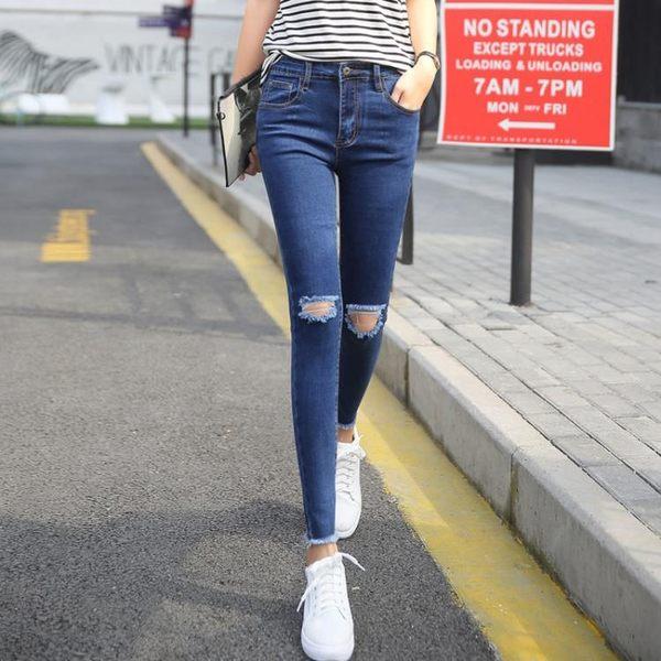 牛仔褲女九分黑色彈力修身顯瘦鉛筆褲正韓學生緊身小腳褲女 巴黎时尚生活