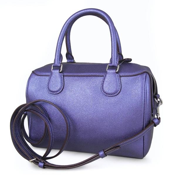 COACH 銀馬車Logo珠光皮革波士頓包 兩用包 手提包 肩背包 斜背包(光紫色、小款)-39706