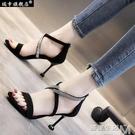 羅馬涼鞋女交叉綁帶夏季新款歐美性感黑色絨...