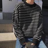 條紋毛衣男士春秋款港風潮牌寬鬆百搭網紅針織衫線衣外套 歐韓流行館