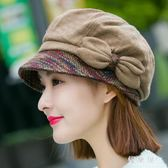 帽子女冬天秋季韓版潮休閑百搭羊毛呢貝雷帽鴨舌帽日系八角帽英倫 QG10352『優童屋』