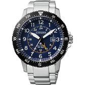 【送米奇電扇】CITIZEN 星辰 PROMASTER 光動能第二地時間手錶-藍x銀/43.5mm BJ7094-59L
