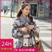 免運★梨卡 - 歐美大牌感新款加厚厚重感高品質中長版超長版大口袋羊毛呢外套風衣長大衣A400
