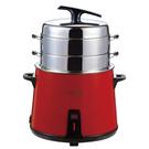 BiBa百變 專利多層304不鏽鋼多功能養生蒸汽電鍋-紅【TB-10R】(BMTB10R)