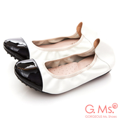 G.Ms. 牛漆皮拼接羊皮娃娃鞋*白色
