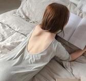 睡衣女夏 睡裙女夏纯棉修身性感睡衣女秋季短袖大码宽鬆纯色露背长款家居服 歐歐