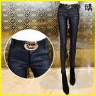 【快樂購】高腰牛仔長褲 打底褲女外穿加絨加厚小腳褲高腰彈力緊身鉛筆褲