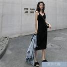 內搭洋裝 針織吊帶洋裝中長款V領黑色打底內搭修身針織背心洋裝 快速出貨