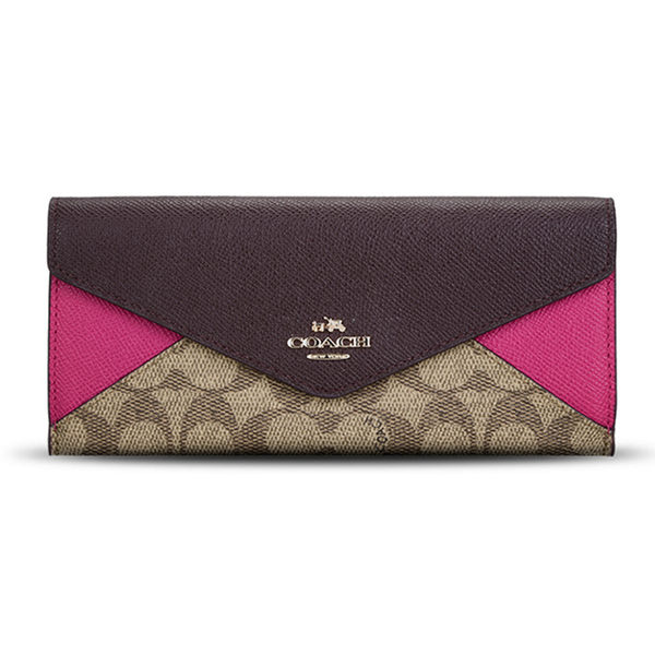 COACH F55065 女士拼色織物配皮錢包錢夾卡其深紅
