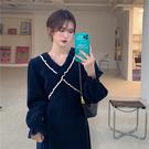 大碼長袖洋裝 連身裙 禮服法式設計感顯瘦氣質長袖連身裙子2F041-C胖妹
