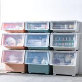 【收納+】3 入斜口上掀蓋式可堆疊附輪加厚收納箱整理箱小款30 公升藍色