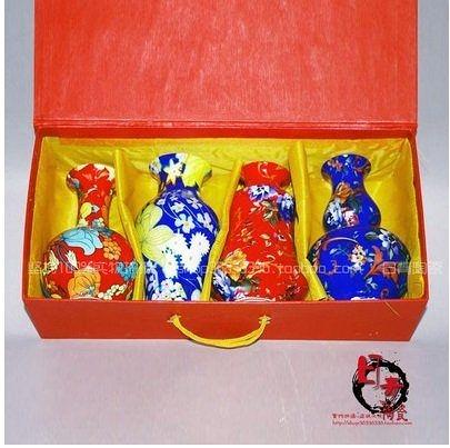 景德鎮陶瓷 特色薄胎萬彩瓷器小花瓶 4個組
