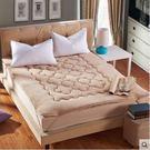 珊瑚絨榻榻米床墊加厚1.5m1.8米保暖雙人床褥子單人墊被【駝色(床墊)】1.8m(6英尺)床
