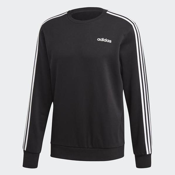 Adidas Essentials 3-Stripes Sweatshirt 男款黑色長袖上衣-NO.DQ3083