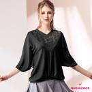 【SHOWCASE】蕾絲V領拼接寬版蝙蝠袖棉質上衣(黑)