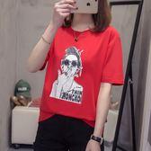 海外直發不退換夏天必備圓領T恤2019新款大碼短袖T恤女 胖妹妹寬松半袖上衣A8865(R26)