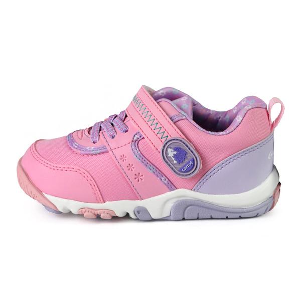 日本月星 MoonStar CARROT 速乾 動物腳印公園鞋 機能童鞋 中童鞋 桃粉 NO.R6001