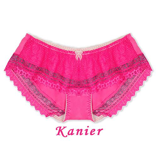 【Kanier卡妮兒】花漾民俗風調整型內衣低腰配褲(黑/桃_ F_2339)