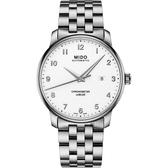 MIDO美度 Baroncelli 永恆系列天文台認證機械錶-銀/42mm M0376081101200