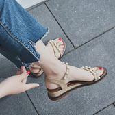 黑五好物節 涼鞋女夏季2018新款百搭韓版中跟羅馬平底學生一字扣簡約軟妹涼鞋