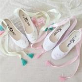 手繪古風鞋子綁帶鞋中國風舞蹈鞋厚底楔形帆布鞋女漢服鞋民族風單鞋【快速出貨】