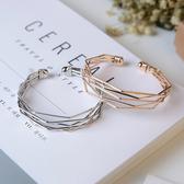 手鐲歐美時尚流行飾品金屬簡約幾何多層次氣質百搭開口手鐲手環女配飾