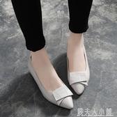 粗跟女單鞋新款淺口低跟工作鞋尖頭媽媽鞋夏季平底小皮鞋「錢夫人小鋪」