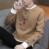 男士長袖T 圓領薄款秋季上衣服青年帥氣潮流衛衣學生打底衫