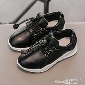 休閒鞋 童鞋一腳蹬兒童皮鞋真皮透氣黑白色休閒單鞋【小天使】