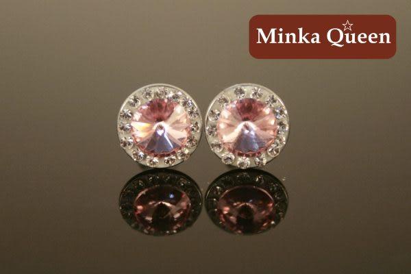 德國鈦鋼粉紅色盤鑽抗敏耳環(一對)(9 mm)