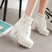 中大尺碼女鞋 短筒靴子女鞋超高跟粗跟系帶馬丁靴
