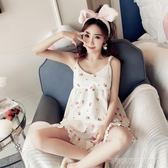 睡衣女夏季吊帶純棉兩件套裝韓版性感小清新寬鬆短袖家居服帶胸墊  Cocoa