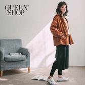 Queen Shop【04101282】素面假兩件毛呢鬆緊寬褲*現+預*