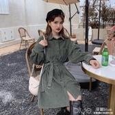 燈芯絨襯衫洋裝女裝春秋季設計感收腰顯瘦長袖氣質裙子快速出貨