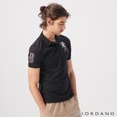 【GIORDANO】男裝勝利獅王漸層刺繡彈力萊卡POLO衫-39 標誌黑