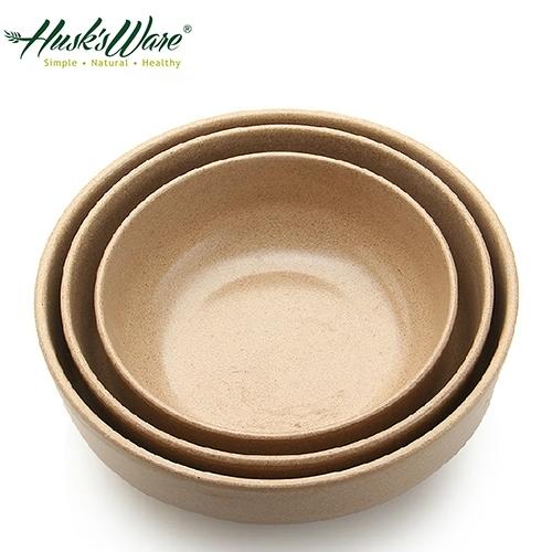 【南紡購物中心】【Husk's ware】美國Husk's ware稻殼天然無毒環保平底圓碗三件組